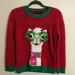 Girl's Ugly Llama Christmas Sweater, XL